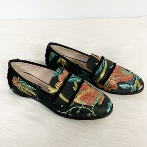 Zara Basic   Frayed Jacquard Floral Loafers Black